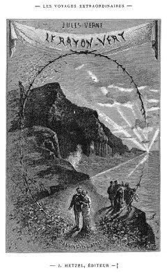 Orgues basaltiques de l'île de Staffa (Écosse) sur la page de garde du roman de Jules Verne «Le rayon vert»