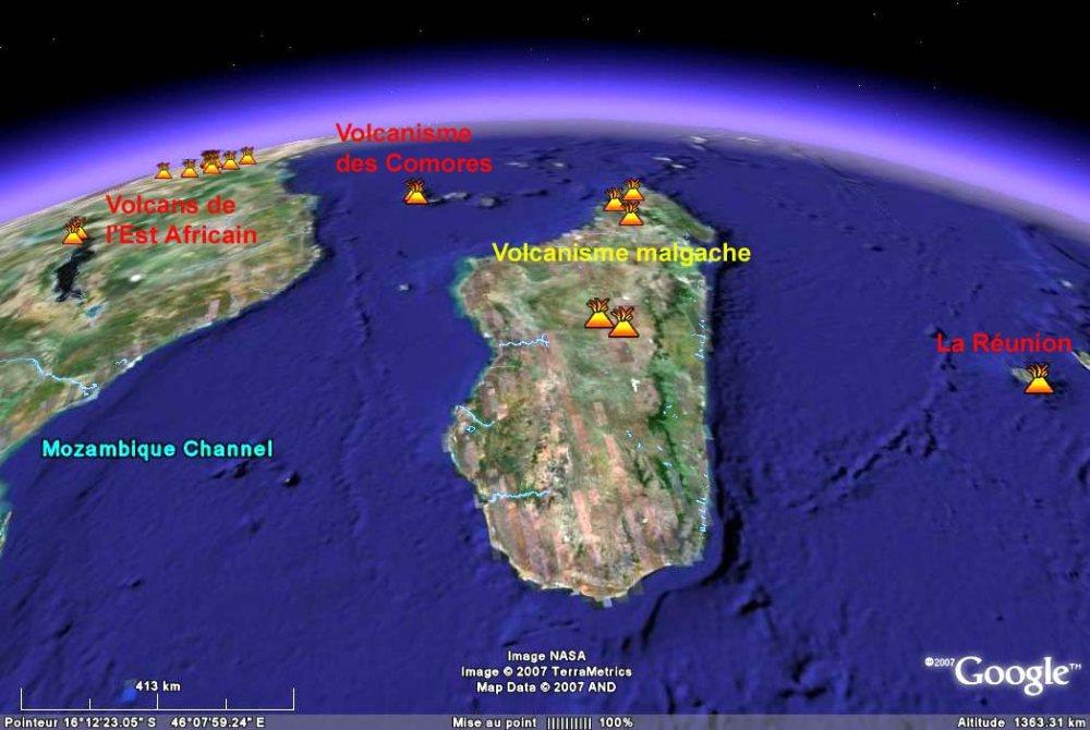 """Image centrée sur Madagascar: Google Earth possède une """"fonction """" spéciale qui permet de localiser les volcans actifs ou quaternaires récents"""