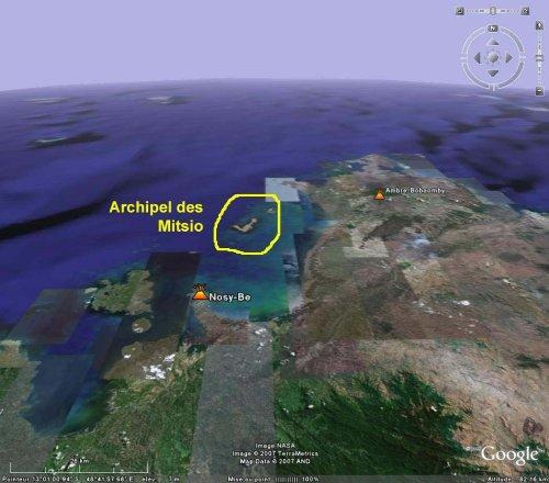 Image Google Earth du Nord de Madagascar, où est localisé l'archipel des Mitsio