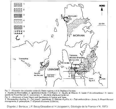 Cadre géologique des affleurements rhyolitiques carbonifères et permiens au Nord du Massif Central
