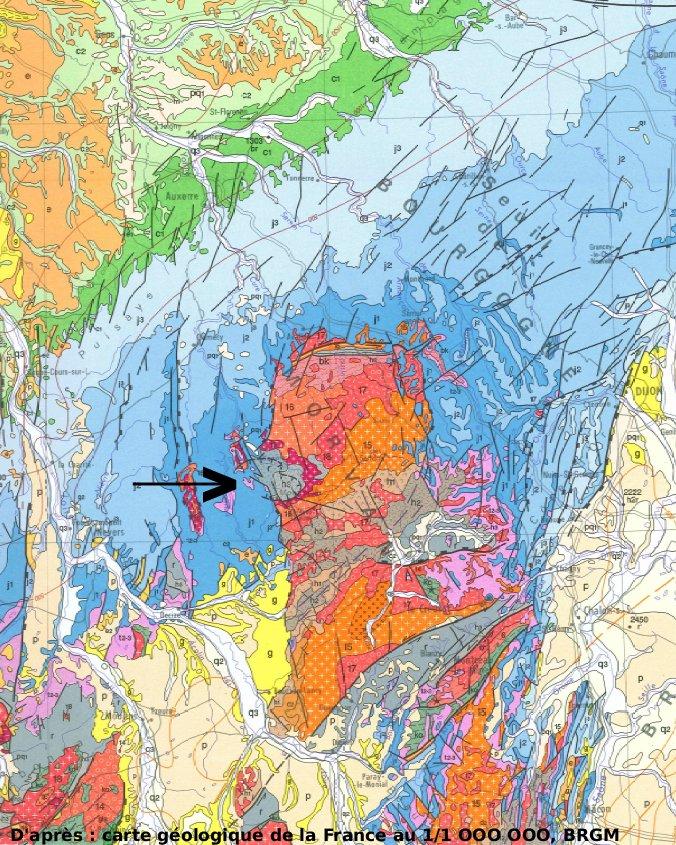 Extrait de la carte géologique BRGM au 1/1000000 montrant le Morvan dans son ensemble