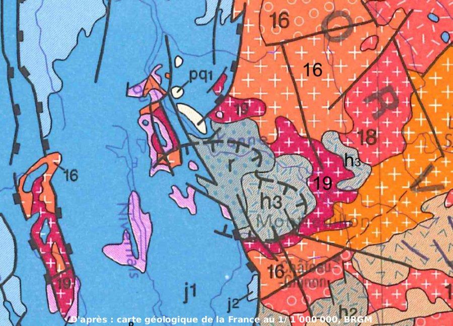 Agrandissement de l'extrait de la carte géologique BRGM au 1/1000000, centré sur Montreuillon (Nièvre)
