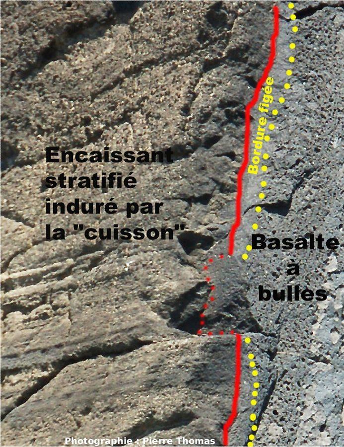 Interprétation du gros plan sur la bordure gauche du dyke et son encaissant induré par la cuisson (thermo-métamorphisme), Volcan du Capélinhos, Faial, Açores.