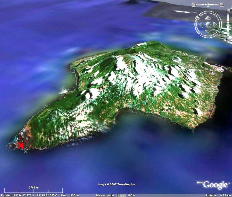 Localisation du dyke sur l'île Faial, Açores