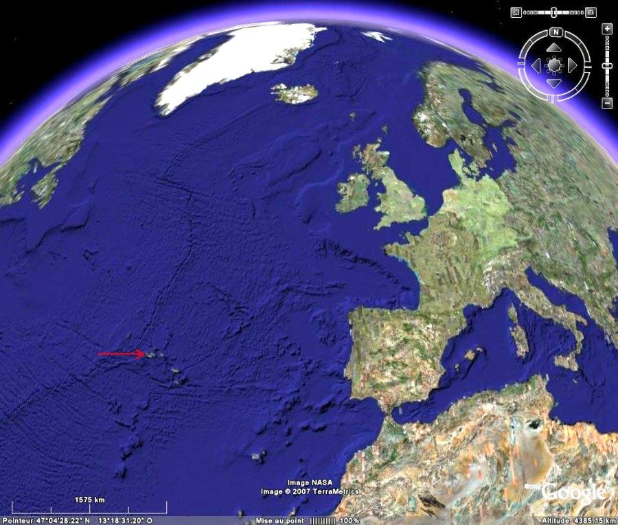 Localisation de l'île de Faial dans l'archipel des Açores (Portugal)
