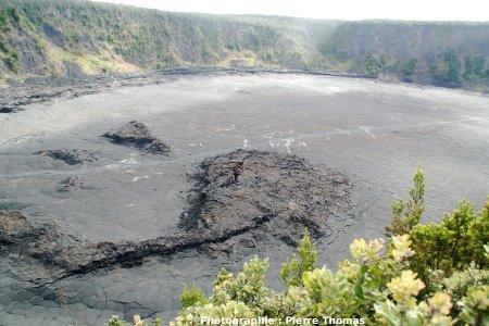 Vue d'ensemble de l'ancien lac de lave du Kilauea Iki Crarer (Hawaii), vu de Pu'u Pua'i Overlook (état en juin 2007)