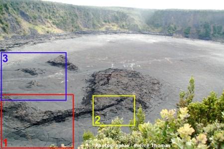 Le Kilauea Iki : position des 3 vues de détails suivantes(état en juin 2007)