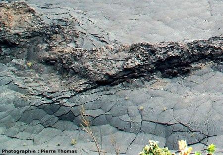 Le Kilauea Iki : fractures associées à des irrégularités dans la baisse du niveau du lac