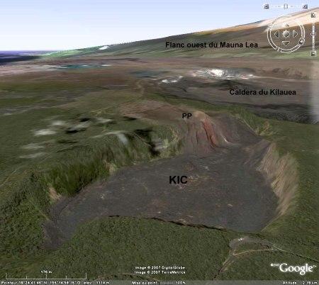 Vue Google Earth du Kilauea Iki Crater (KIC)