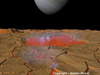 Représentation d'artiste montrant la surface d'un lac de lave sur Io