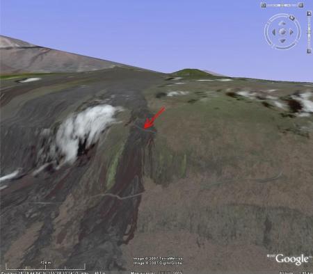 Localisation du site riche en réticulite au niveau d'une rupture de pente (Holei Pali, Hawaii)