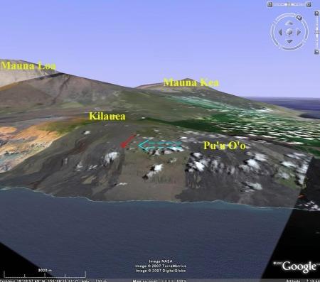 Localisation site de prélèvement des réticulites par rapport au Pu'u O'o (volcan émetteur), et à la direction générale des alizés venant du NE