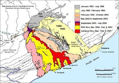 Carte géologique montrant les coulées du Pu'u O'o émises depuis 25ans