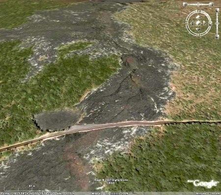 Vue Google Earth de la coulée de 1974 près de Lua Manu crater, Chain of Craters Road, Kilauea, Hawaii
