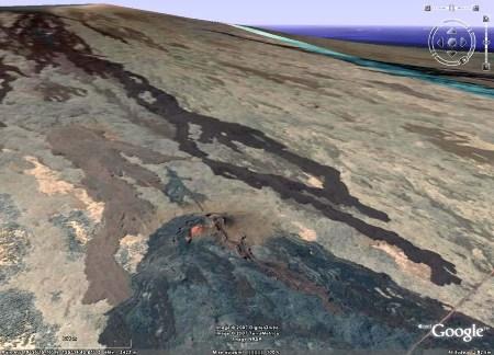 image Google Earth de la coulée fléchée sur l'image 3, Mauna Loa, Hawaii