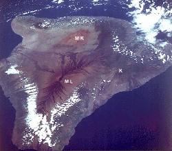 Vue satellite (navette spatiale) de la Grande Île d'Hawaii