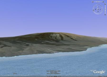 Image Google Earth du volcan Darwin (1280 m), île Isabela, Galapagos