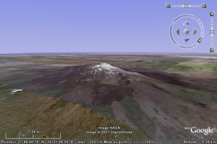 Image Google Earth de l'Etna, volcan bouclier sicilien