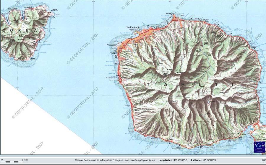 Carte IGN de la partie NO de Tahiti et de la presque totalité de l'île de Moorea