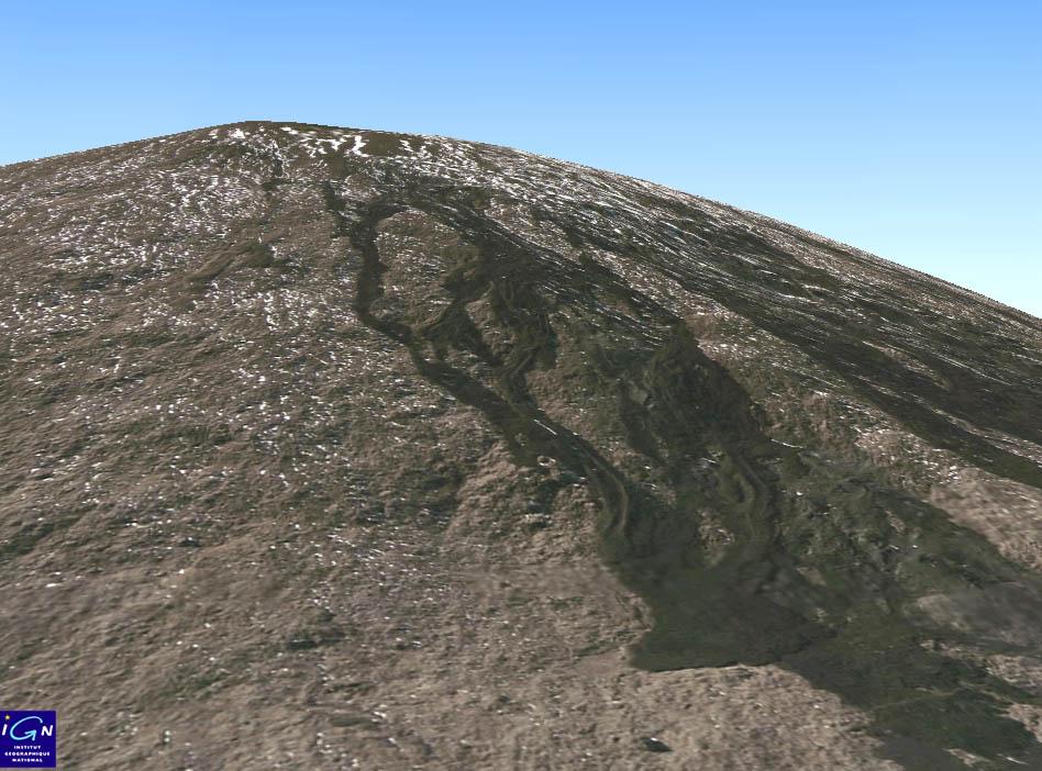 Image géoportail 3D de ce même flanc SO du Piton de la Fournaise (La Réunion)