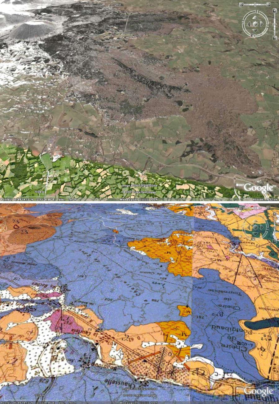 Image et carte géologique Google Earth/BRGM de la coulée récente (cheire) du Puy de Côme (vue vers le sud)