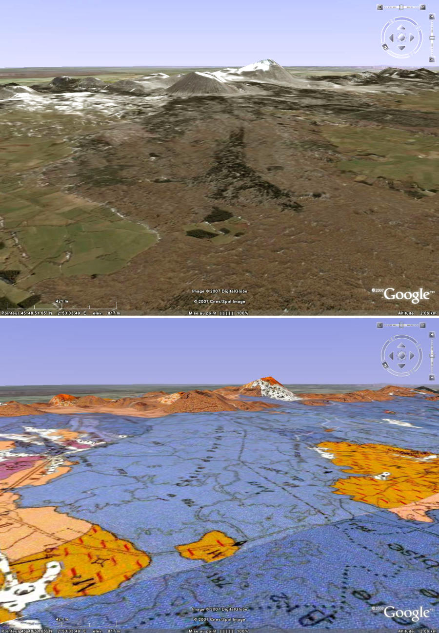 Détail de la partie amont de la coulée du Puy de Côme