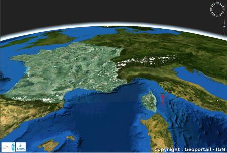 Localisation de l'île d'Elbe, Italie