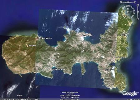 Vue verticale de l'île d'Elbe (Italie), localisant Marciana Marina