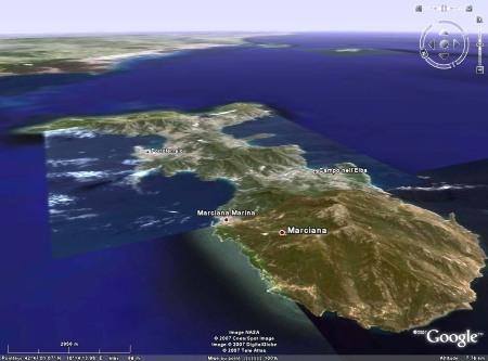 Vue 3D de l'île d'Elbe (Italie), localisant Marciana Marina
