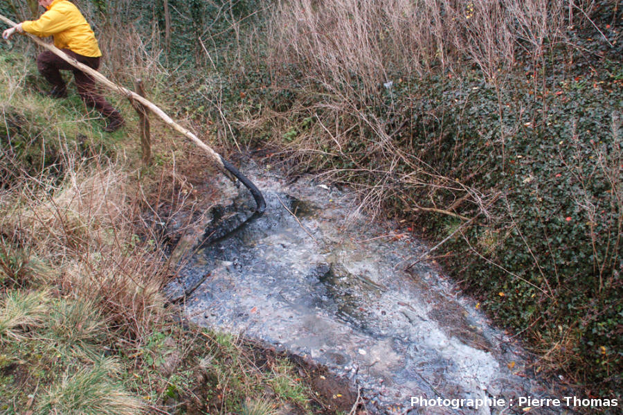 La source du «ruisseau de bitume» du Puy de la Poix, commune de Clermont-Ferrand (Puy de Dôme)