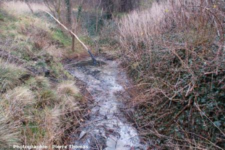 Vue générale du ruisseau de bitume du Puy de la Poix en direction de l'amont, Clermont-Ferrand (63)