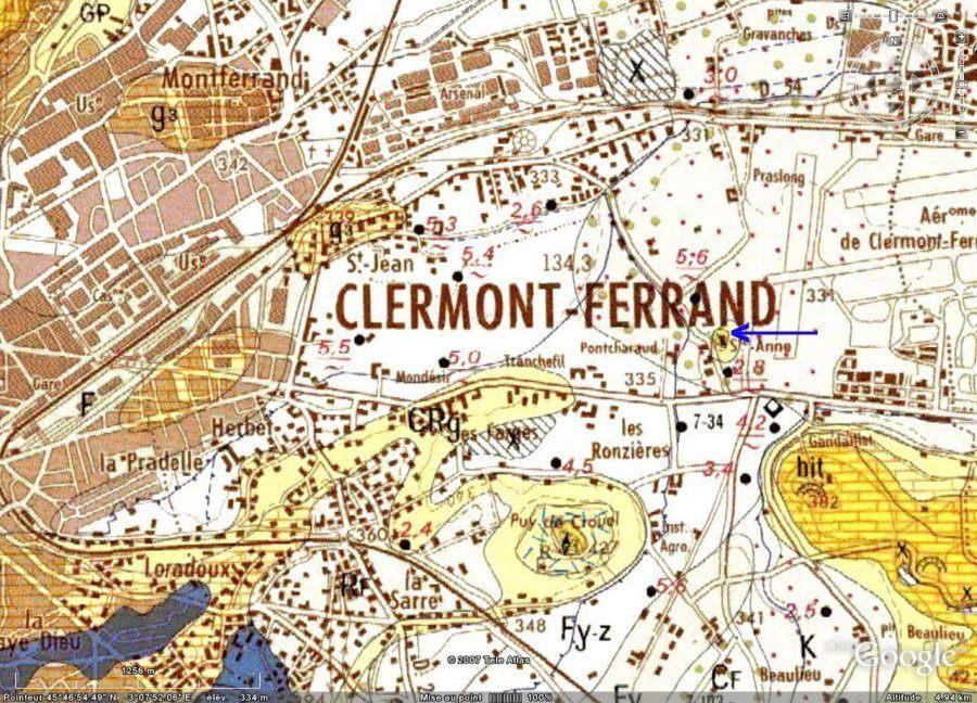 Détail de la carte géologique de Clermont-Ferrand au 1/50000