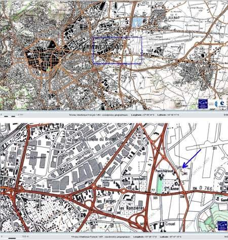 Localisation du Puy de la Poix sur carte IGN actuelle (Géoportail)