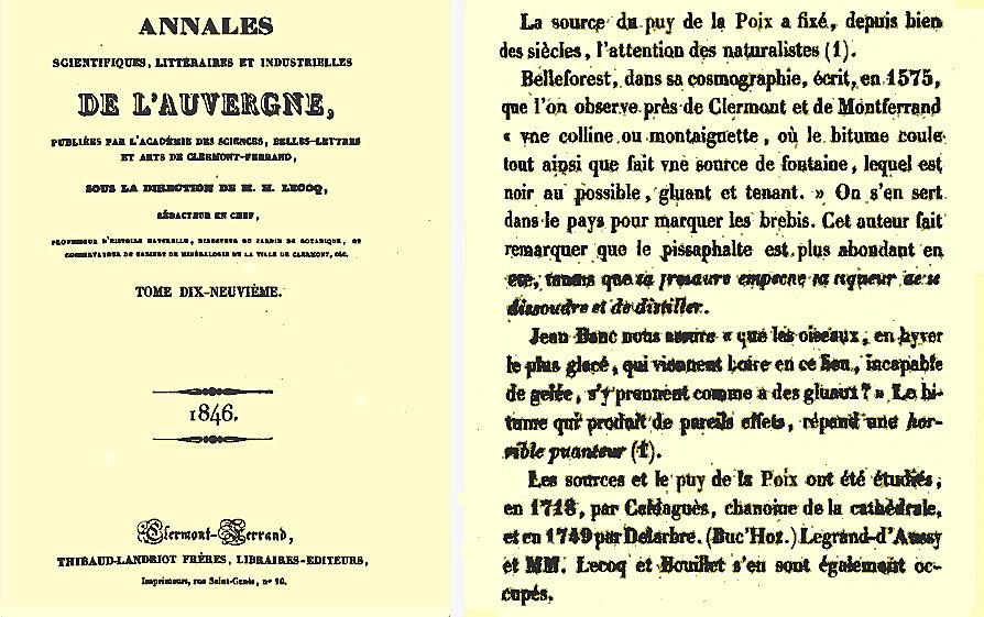 Page de titre et début du passage décrivant le Puy de la Poix, extraits des annales Scientifiques, Littéraires et Industrielles de l'Auvergne, 1846