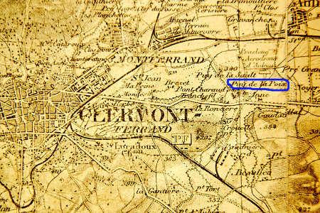 Extrait de la carte d'état major au 1/80 000 (édition des années 1930) du secteur du Puy de la Poix, Clermont Ferrand (63)