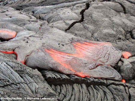 Gros plan sur un nouveau lobe de lave cordée en formation, coulée du Pu'u O'o (Hawaii), été 2001