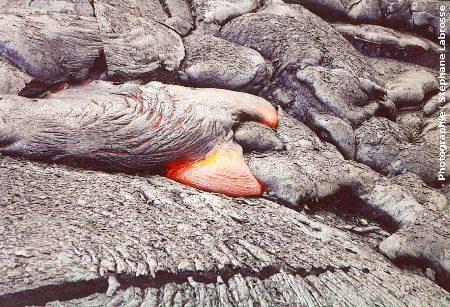 Avancée du front d'une coulée de lave cordée : 1/3, coulée du Pu'u O'o (Hawaii), été 2001