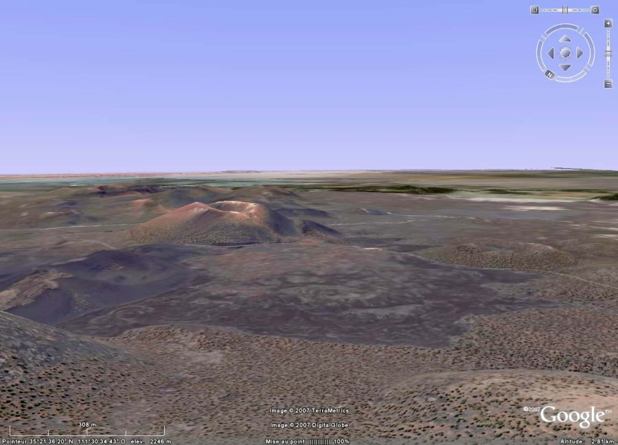 Vue Google Earth du cône du Sunset Crater (Arizona) et de sa coulée