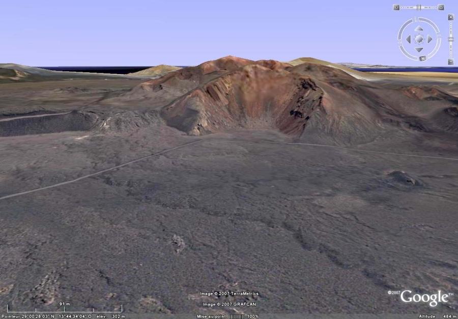 Vue Google Earth du secteur du Parc National de Timanfaya (Lanzarote, Canaries) où la couléee aa précédente a été observée.