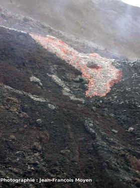 Vue détaillée de l'aval d'une coulée de mars 2001, Piton de la Fournaise, Île de La Réunion