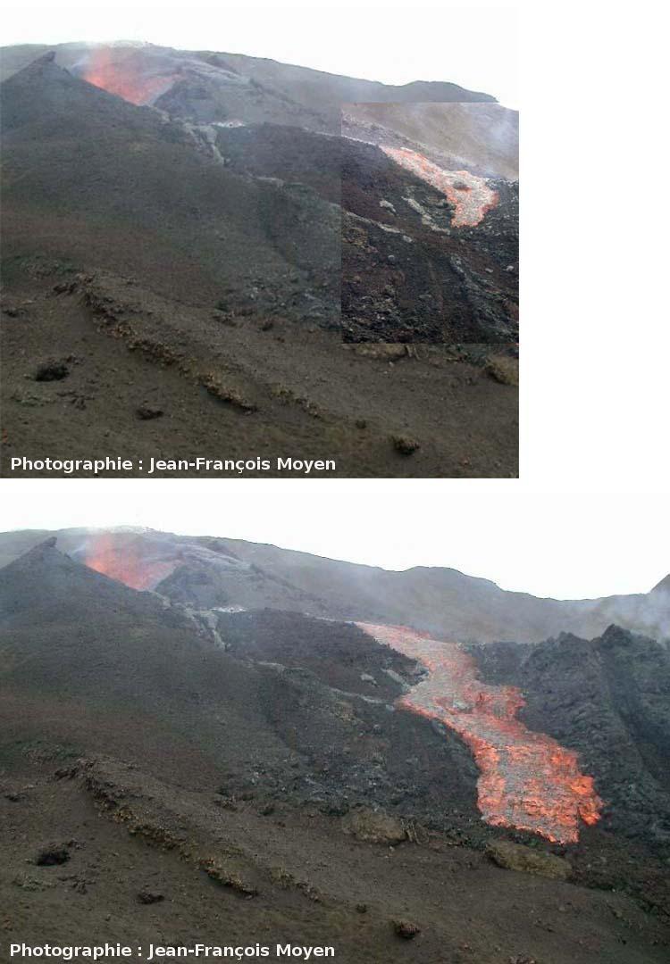 Montage montrant la progression d'une des coulées de mars 2001, Piton de la Fournaise, Île de la Réunion