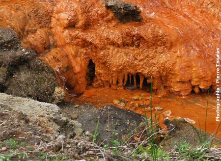 Encroûtements et stalactites d'hydroxydes ferriques, Lombadas, île de Sao Miguel, Açores
