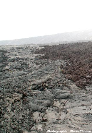 Coulée de type aa (bordure Ouest) recouvrant une coulée pahoehoe, flanc Sud du Kilauea, Hawaii