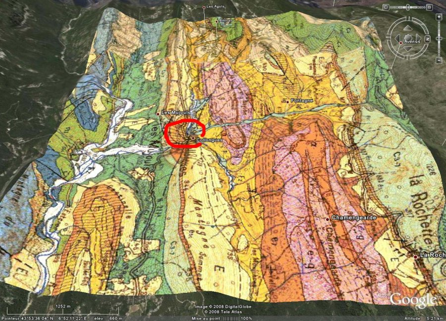 Localisation de la zone de prélèvement du calcaire à nummulites