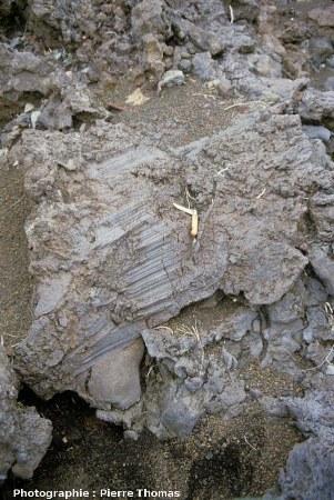Stries de friction-progression sur des blocs d'une coulée aa, la Plaine des Sables, île de La Réunion