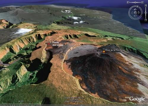 Localisation de la Plaine des Sables, île de La Réunion