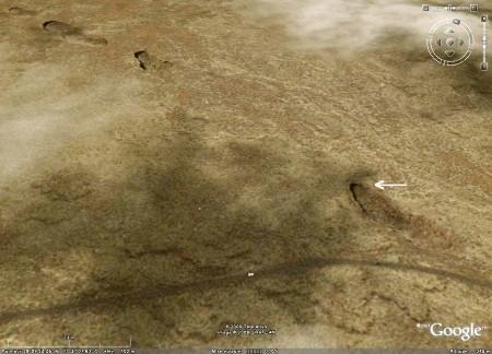 Vue Google Earth d'une chaîne de lucarnes, Lanzarote (Canaries)