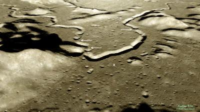 Vue (d'artiste) oblique du sillon Hadley, Lune