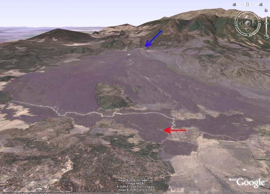 Vue générale sur le Paricutin et ses coulées (Mexique)