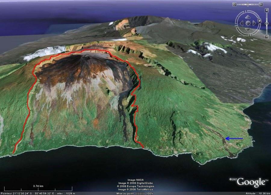 L'Est de l'île de La Réunion, dominée par le Piton de la Fournaise